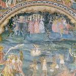 """Страшният съд.  Стенопис от Захарий Зограф в галерията на църквата в Троянския манастир """"Успение Богородично"""""""