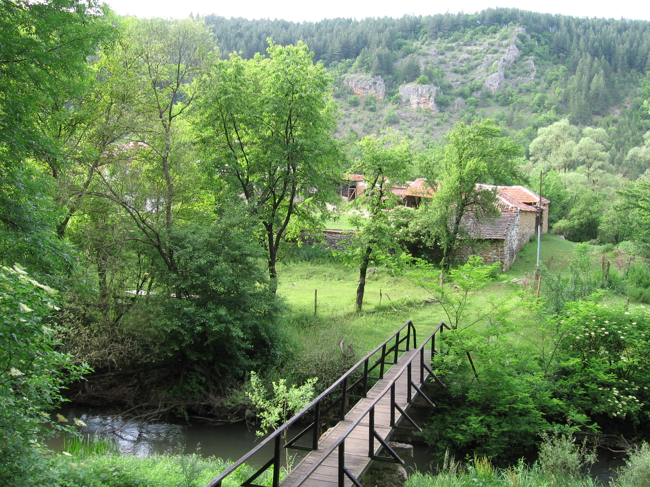 Мостчето над река Нишава, свързващо скалната манастирска църква с другите сгради.