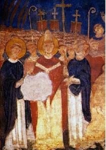 """Папа Адриан II (в средата с ореол) посреща Св. св. Кирил и Методий в Рим през 868 г. Стенопис от XI век в църквата """"Сан Клементе"""""""