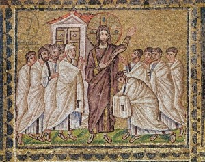 XIR187090 The Incredulity of St. Thomas, from Scenes from the Life of Christ (mosaic) by Byzantine School, (6th century); Sant'Apollinare Nuovo, Ravenna, Italy; out of copyright