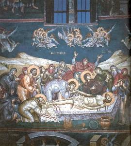 """Полагане в гроба и оплакване на Христа. Стенопис от от 1295 г. от църквата """"Св. Климент"""" в Охрид, дн. Република Македония"""